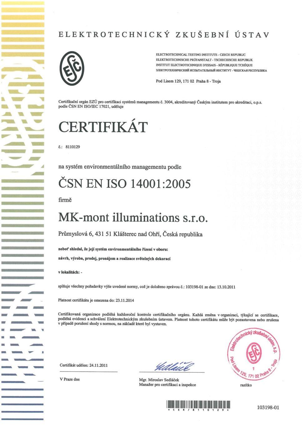 MK mont certifikát ISO 14001
