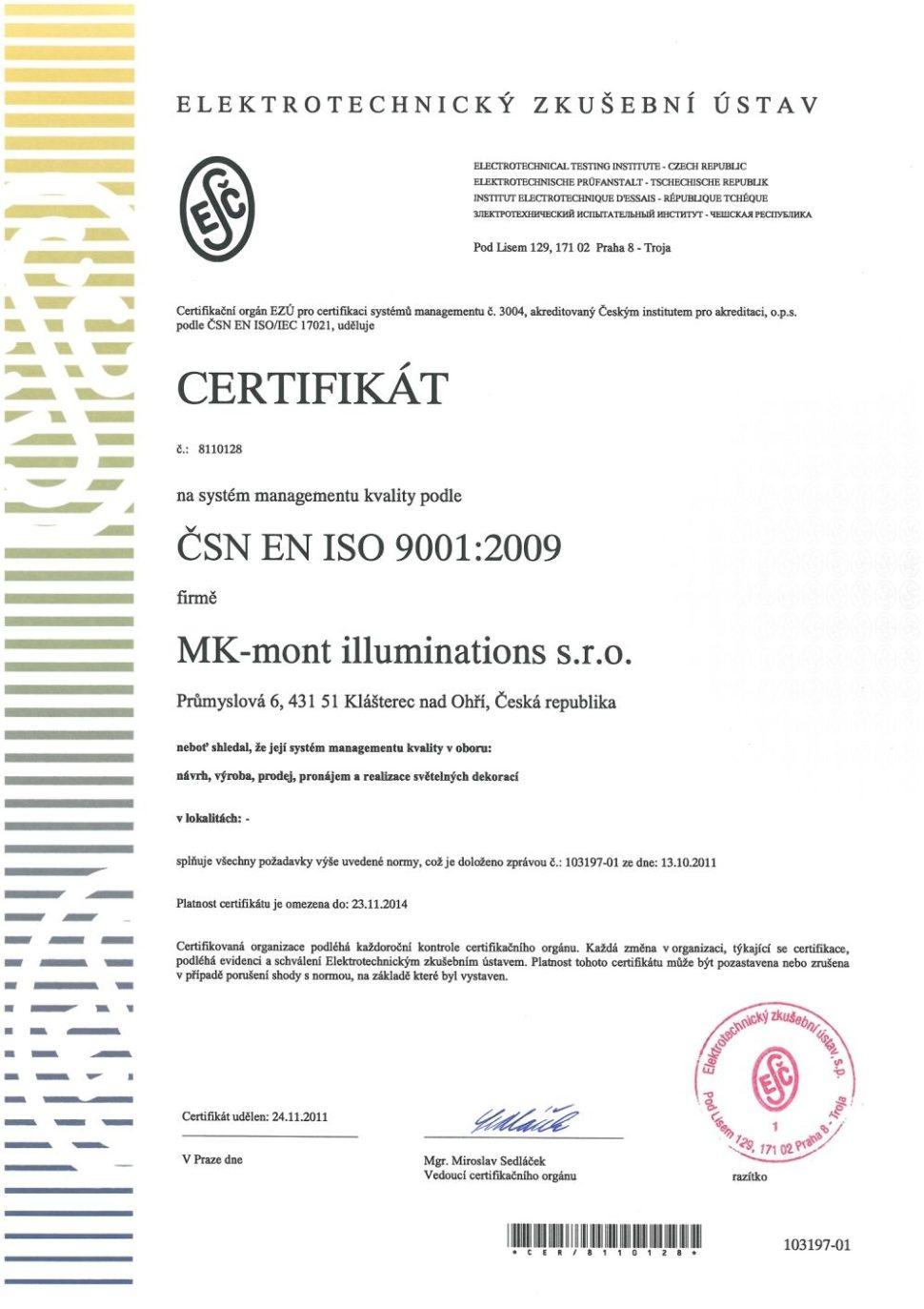 MK mont certifikát ISO 9001