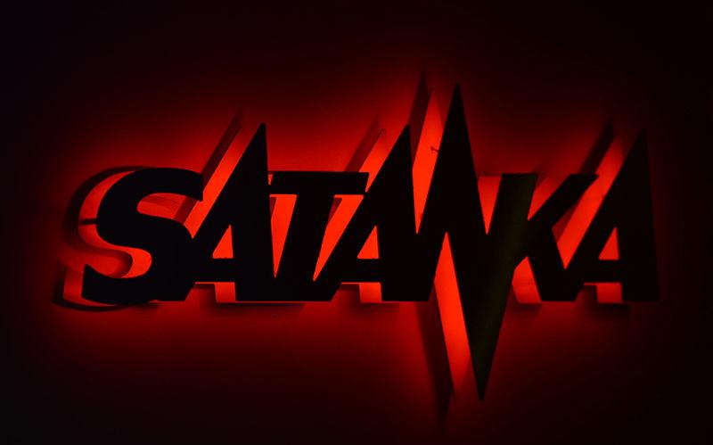 Klášterec nad Ohří světelný nápis Satanka