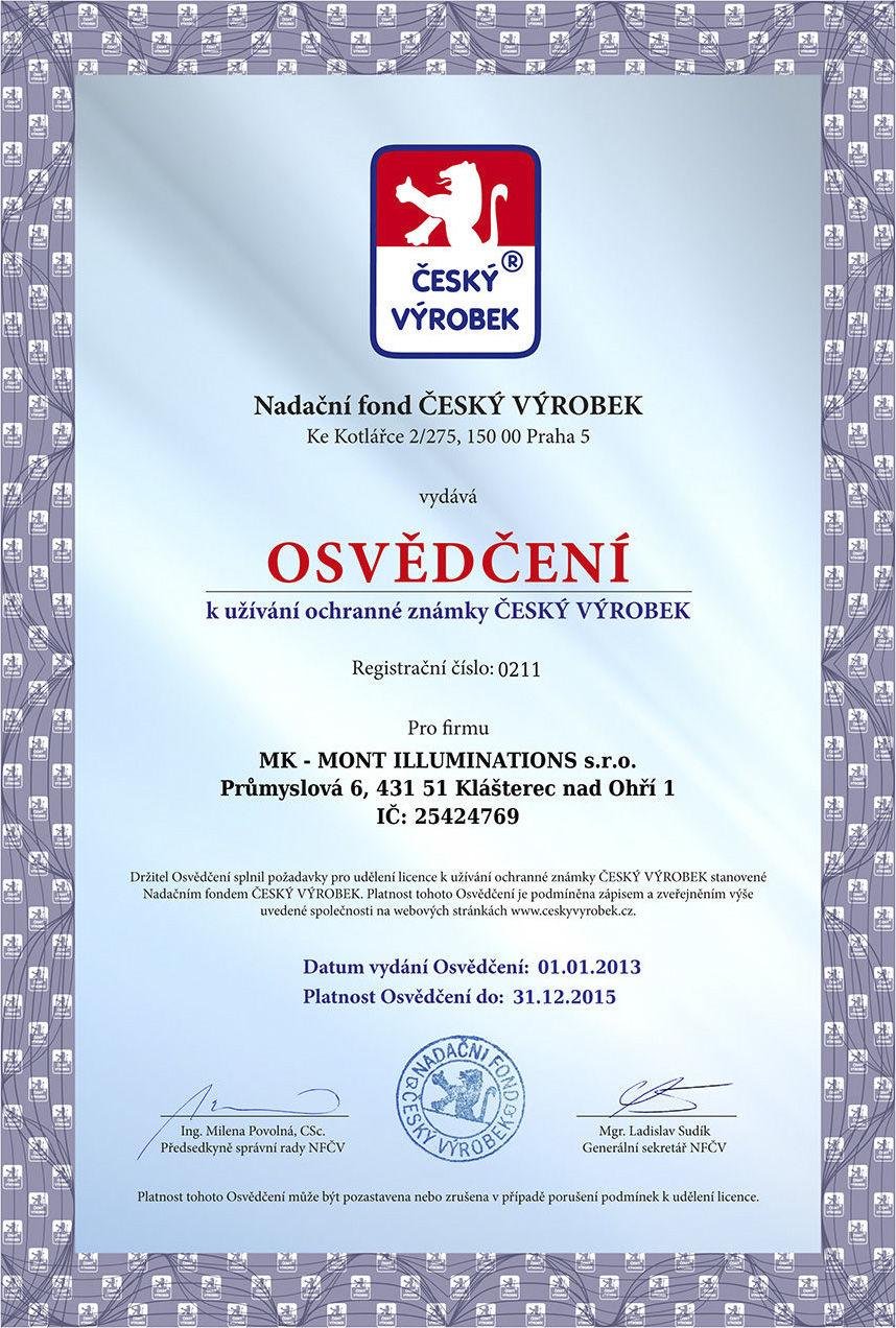 certifikát Český Výrobek udělen firmě MK mont illuminations