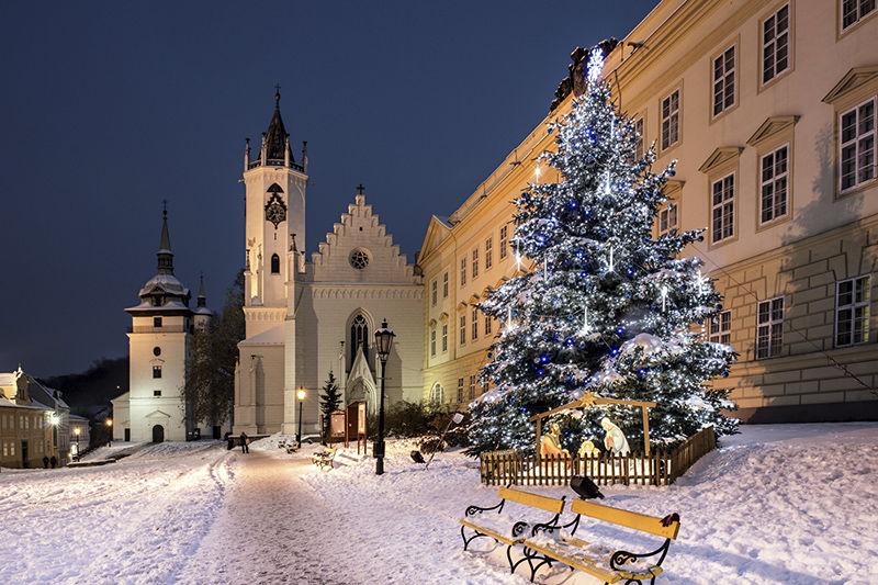 Světelná vánoční výzdoba stromu vTeplicích
