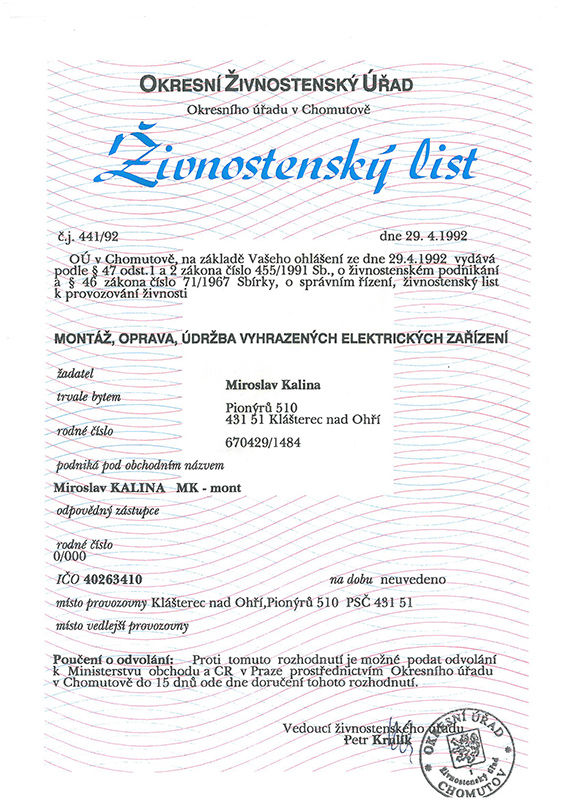 Živnostenský list firmy MK-mont zroku 1992